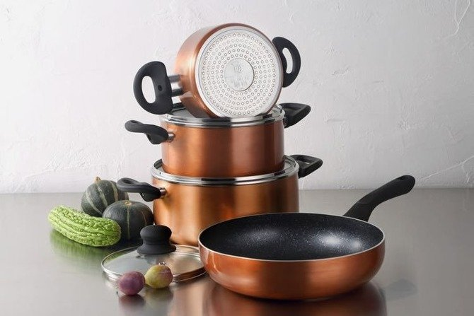Set of pots and frying pans RENBERG Luzern Copper