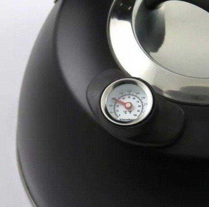 Czajnik Klausberg 3l stalowy z termometrem czarny mat