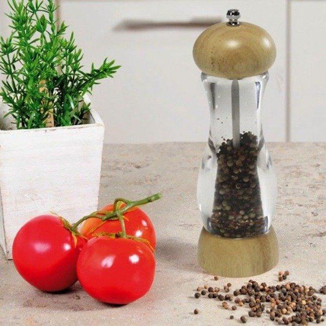 Młynek Kesper do pieprzu i soli akryl / kauczuk 22cm