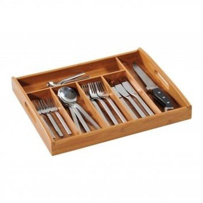 OUTLET (-38%) Wkład do szuflady na sztućce bambusowy Kesper 32-38cm / Organizer na przybory