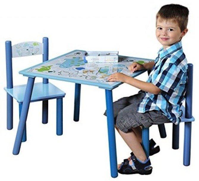 Stolik + dwa krzesełka dla dzieci KESPER Dino niebieski