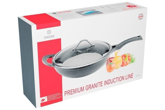 Wok z pokrywą Vinzer Premium Granite Line 32 cm